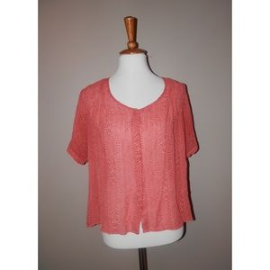 MAEVE Top Medium Orange Pink Chevron Silk Short Sl